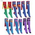 9 das mulheres dos homens unisex super hero superman batman mulher maravilha superwoman joelho alta com cabo cosplay meias tripulação meias de presente de casamento