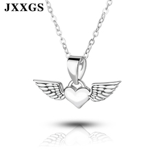 JXXGS Fashion Women Necklace 100% 925 Sterling Silver Heart Shape Angel With Wings Pendant For Jewelry Daily Wear