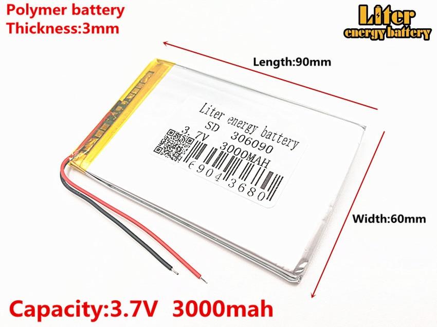 3.7V 306090 nagy kapacitású lítium-polimer akkumulátorok 286090 3000MAH akkumulátor univerzális újratölthető akkumulátor