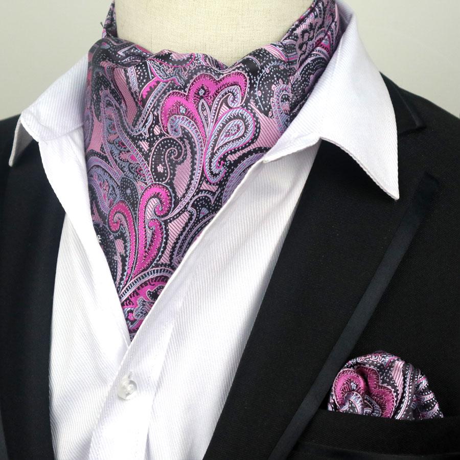 YISHLINE Men's Luxury 100% Silk Ascot Cravat Tie & Handkerchief  Set Plaids Paisley Pocket Square Tie Sets For Wedding Party