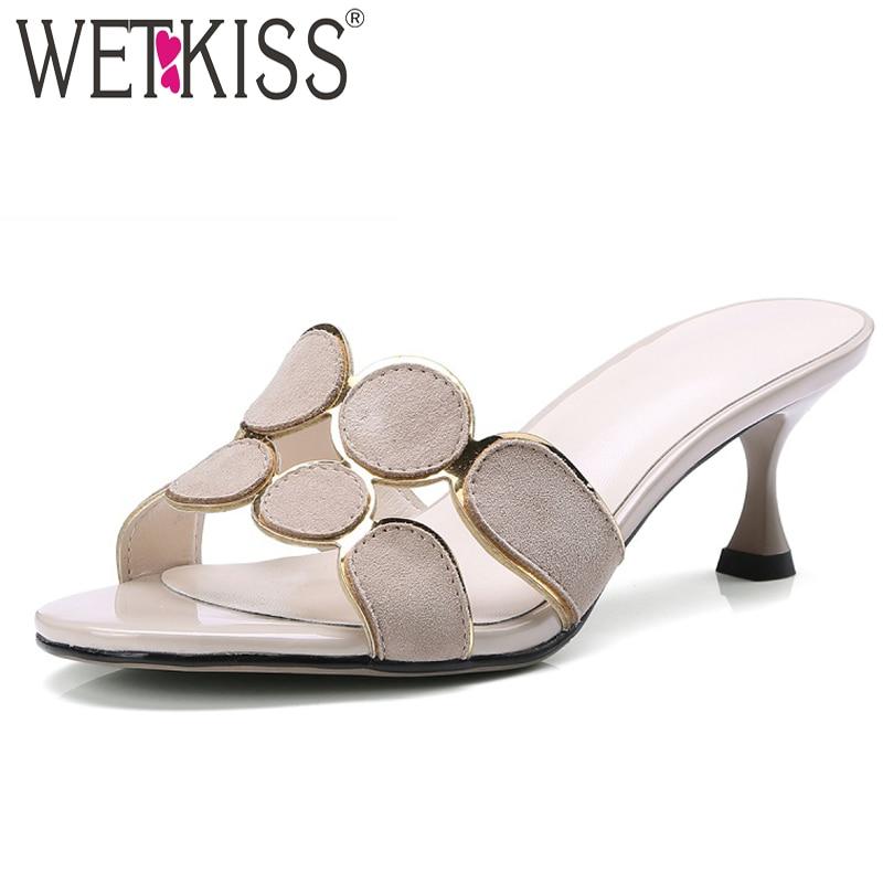 WETKISS Kid Suede Women Slippers Open Toe Footwear Slides Shoes High Heels Female Slipper Woman Mules