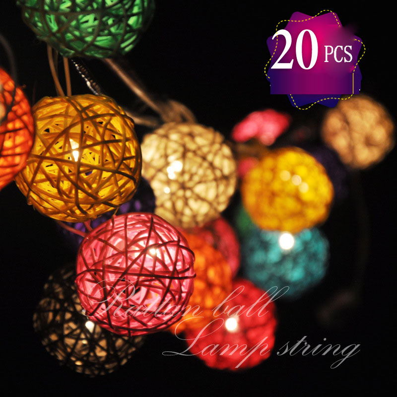 Colorful Thailand DIY LED 2M 20 PCS/Lot EU/US Plug-in or Battery Powered Rattan Ball Tandem String Lights For Xmas Wedding PartyColorful Thailand DIY LED 2M 20 PCS/Lot EU/US Plug-in or Battery Powered Rattan Ball Tandem String Lights For Xmas Wedding Party
