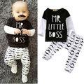 2 PCS Roupa Do Bebê Recém-nascido Menino Mr Pouco Patrão Manga Longa T-shirt de algodão Tops + Pant Outfit Bebek Giyim Set Roupas 0-24 M