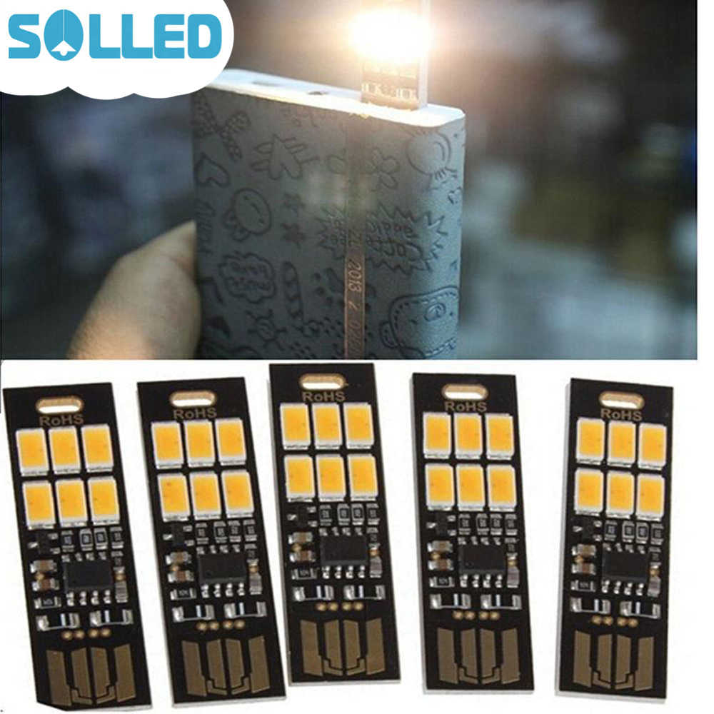 SOLLED USB Power 6 LED Beads Night Light Touch Control Dimmable White Yellow Light Mini Lamp
