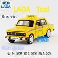 1:32/Simulación Diecast modelo de juguete coche/Rusia LADA taxi/han de luces y música/para niños regalos o colección/Tire Hacia atrás