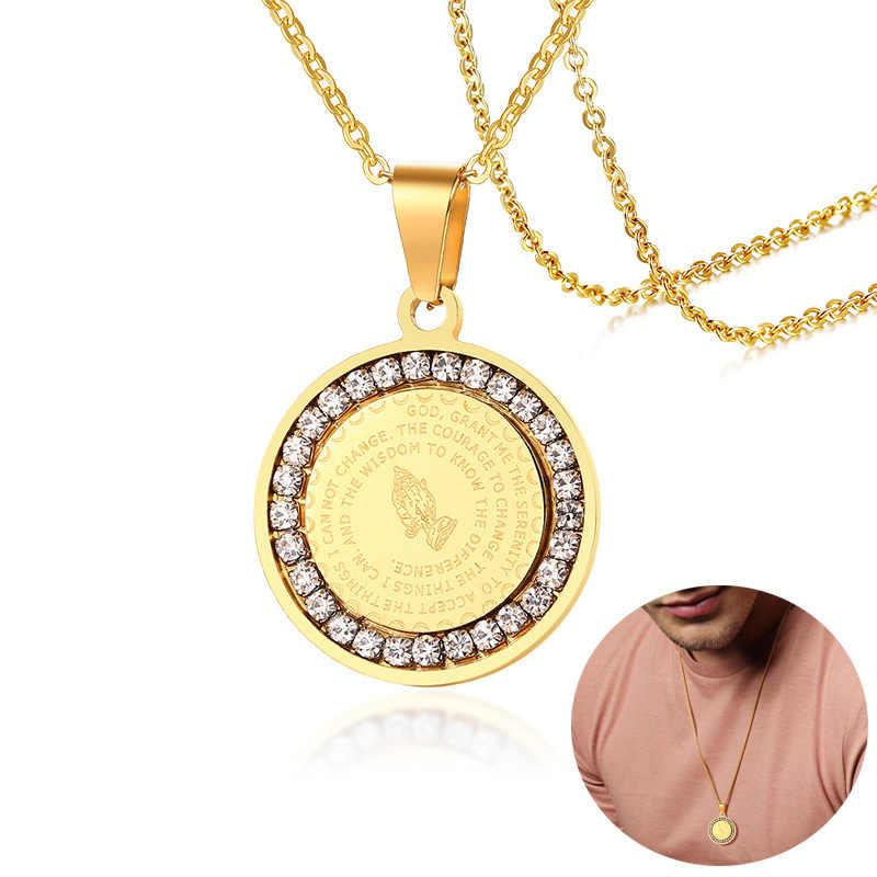 Colar de prata de prata de ouro de aço inoxidável orando mãos moeda medalha pingente colares