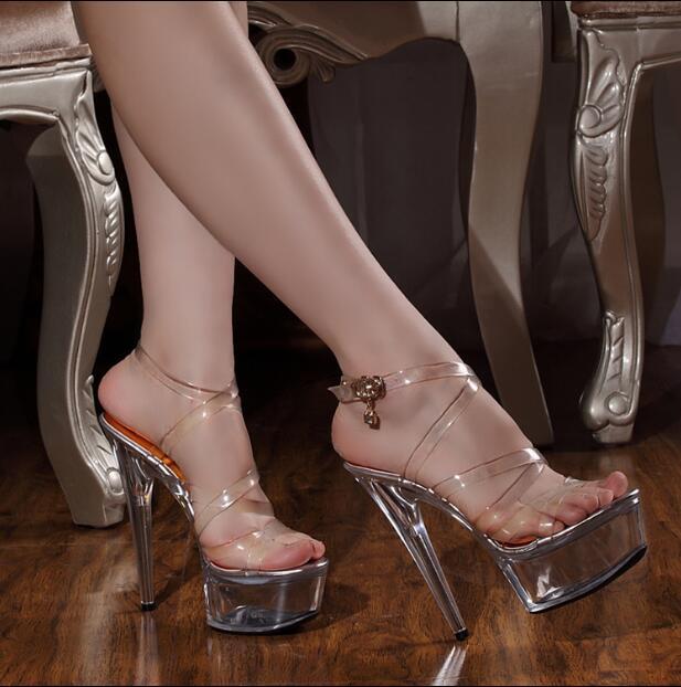 ФОТО Perspex women shoes sandals 15 cm high spike heels snd 5 cm platform buckle strap transparent shoes wedding and catwalk shoes