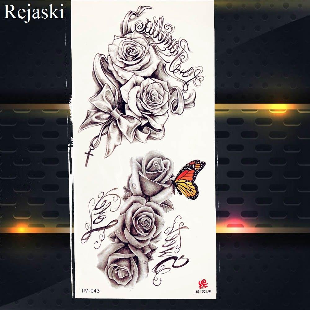 Purple Rose Flash Tattoo Stickers Women Body 1