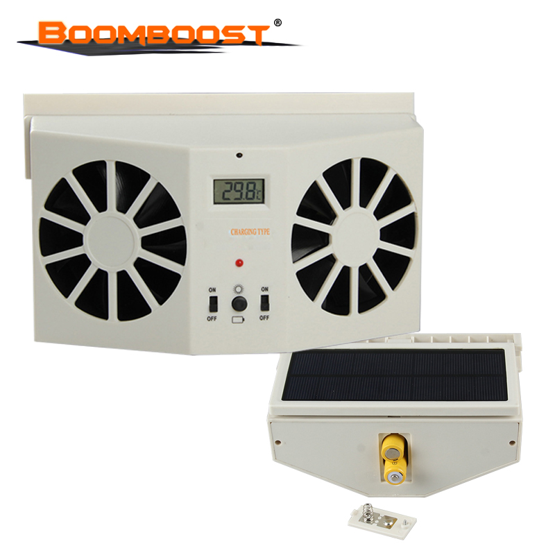2W Solar Sun Power Car Auto Air Vent Cool Fan Portable Cooler Radiato with Display Ventilation System Without battery