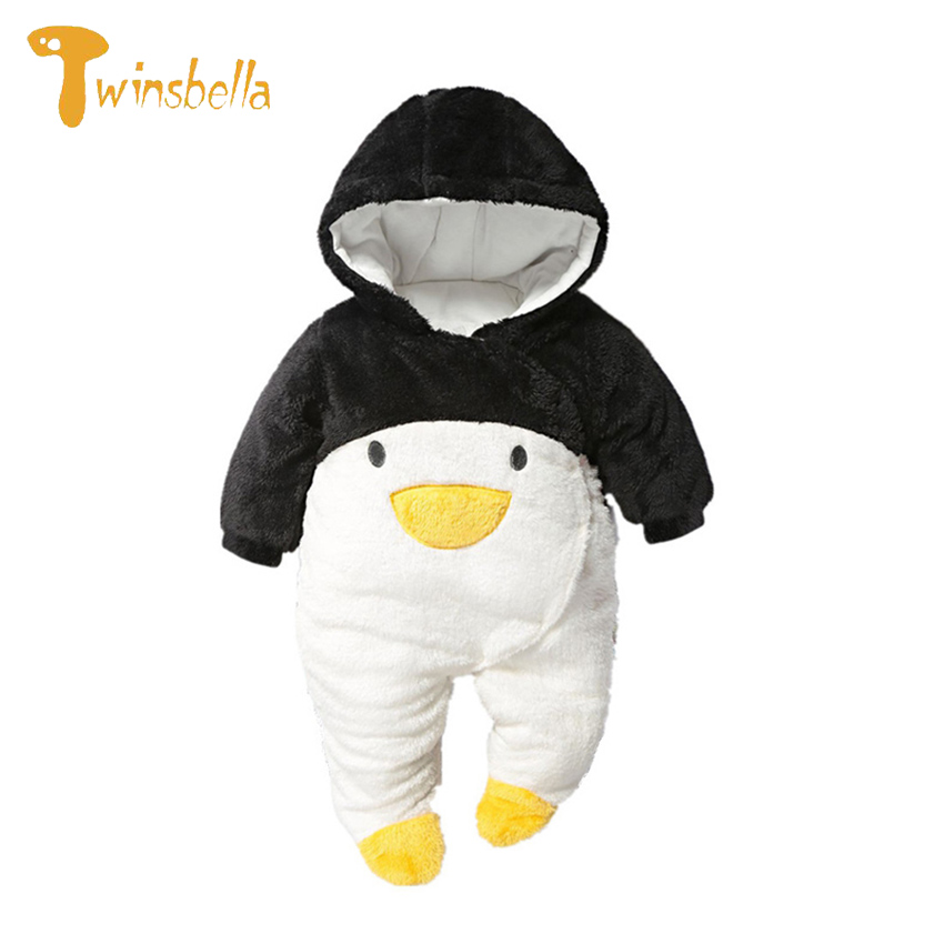 TWINSBELLA Baby Romper Newborns Infant Cartoon Penguin/Panda/Rabbit Hooded Jumpsuit Baby Boys Girls Winter Thick Warm Rompers puseky 2017 infant romper baby boys girls jumpsuit newborn bebe clothing hooded toddler baby clothes cute panda romper costumes