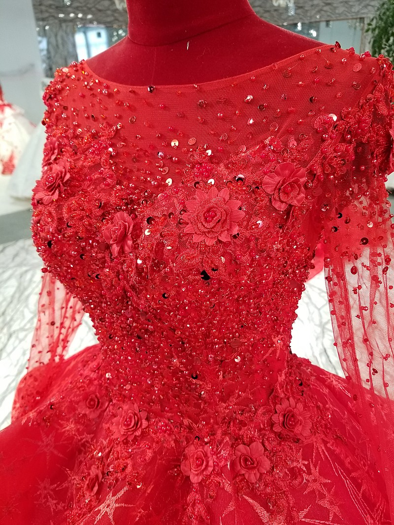 e76ccba35a LS69433 red ball gown evening dress with peplum o neck long sleeve formal  dress for wedding party with heavy handworking flowers-in Evening Dresses  from ...