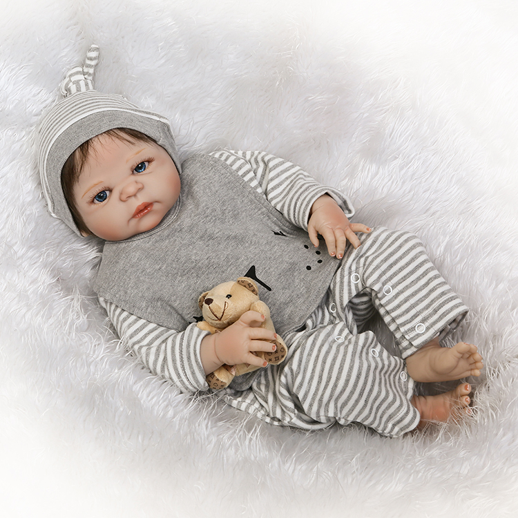 55cm Full Silicone Reborn Boy Baby Doll Toys 22inch Lifelike Newborn Babies Toddler Dolls Birthday Gift Bathe Play House Toy 55cm full silicone body reborn baby boy doll toys lifelike 22inch newborn babies toddler dolls birthday present bathe toy girls