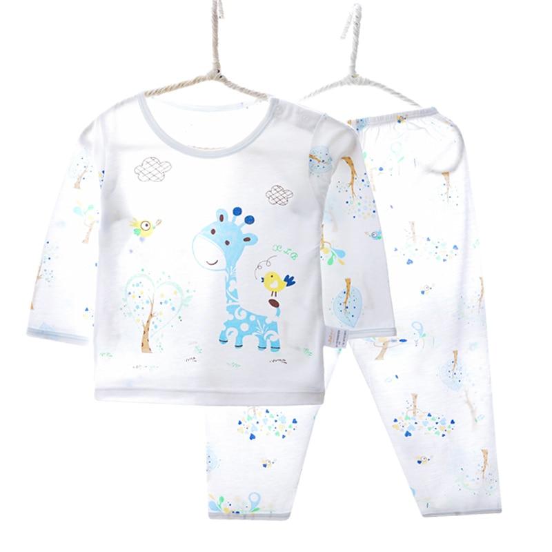 Brand Children's Pajamas Sets Soft Bamboo Fiber Long Sleeve Giraffe Animal Kids Pajamas Boys Girls Clothes 2-10 Year V060