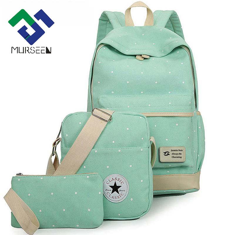 fresh Canvas Women Backpack big girl student book bag with purse laptop 3pcs set bag high