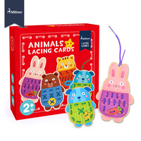 MiDeer Button Up Wooden Animals Lacing Cards Fine Motor Skill Educational Sewing Toys For Preschool Children