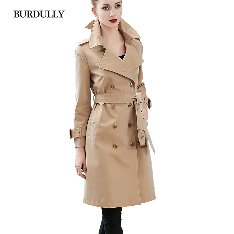BURDULLY 2019 The New   Trench   Coat For Women Turn-down Collar Double Breasted Cotton Coat Women Basic Duster Gradient Color Slim