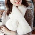 New Winter Fashion Women Scarf Faux Rabbit Fur Plush Warm Scarf Lady Solid Color Scarves