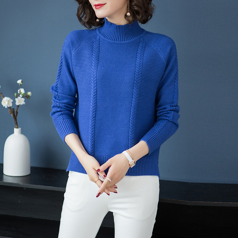 Blue Short Knit Winter Fall Turtleneck Light Pullovers Blue Loose Sweater Bottoming Slit Brand rose Red caramel Women Solid New Color royal Colour w8fxwdqZ