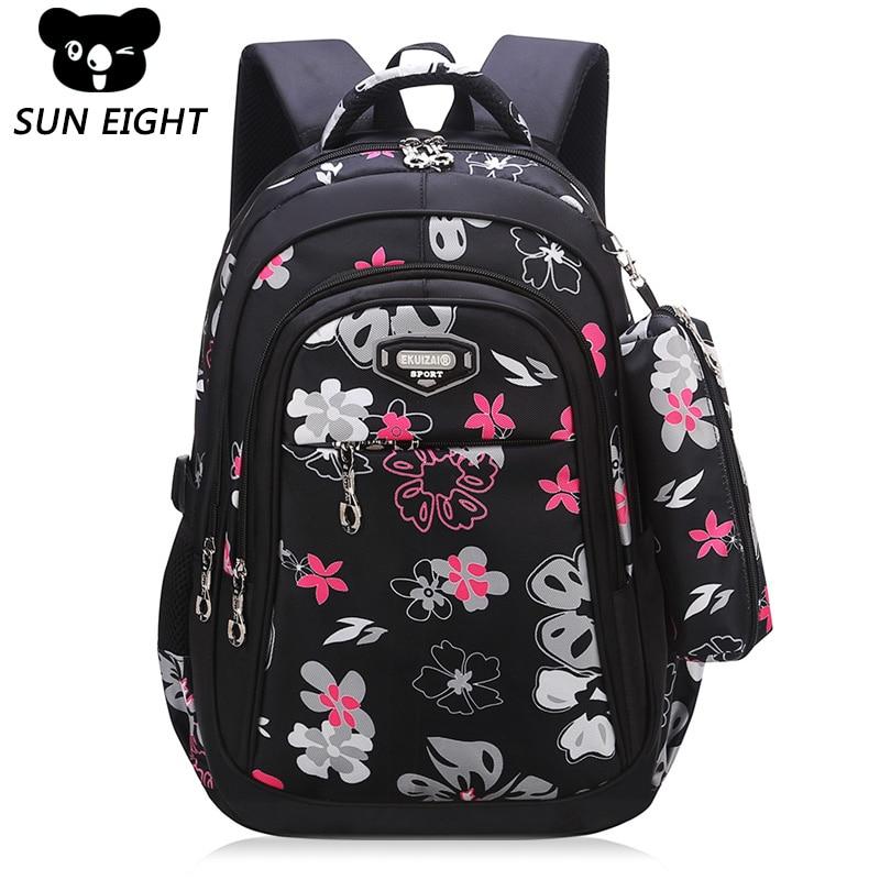 Новый большой Ёмкость молнии черный/розовый школьные сумки для девочек Марка Для женщин рюкзак дешевые сумка оптом детские рюкзаки цветочн...