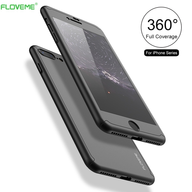 FLOVEME Luxury 360 Degree Full Body Protection Cover Cases For iPhone 6 6s 7 Plus With Tempered Glass For iPhone 6S Case Logo