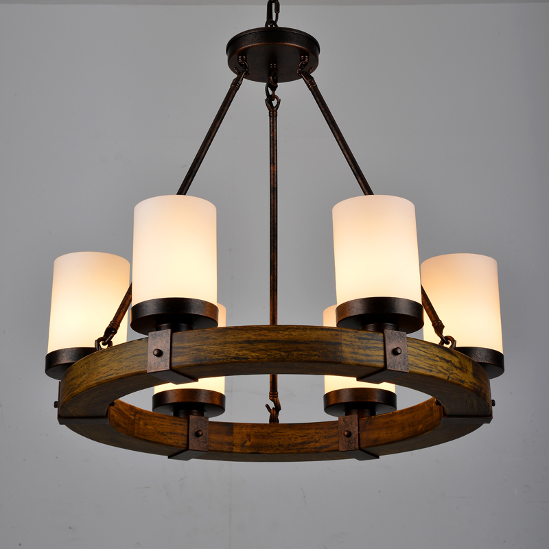 Ican Country Retro Round Wood Sitting Room Droplight North European Style Restaurant House Garden Chandelier In Pendant Lights From