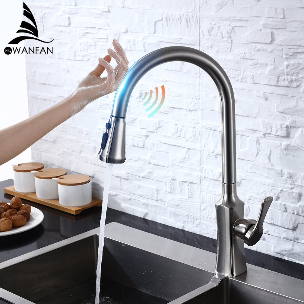 Touch On Kitchen Faucets With Pull Out Sprayer, Single Handle Kitchen Sink Faucet With Pull Out Sprayer, Stainless Steel KH1028