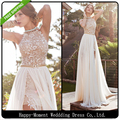 2016 A Line Front Slit Chiffon Elegant Two Pieces Beach Wedding Dress 2016 Detached Train Bridal Gown vestido de noiva (SL-W04)
