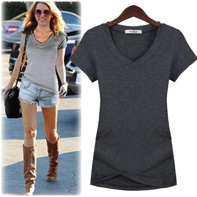 High Quality New Fashion Casual V-Neck Short Sleeve T Shirt