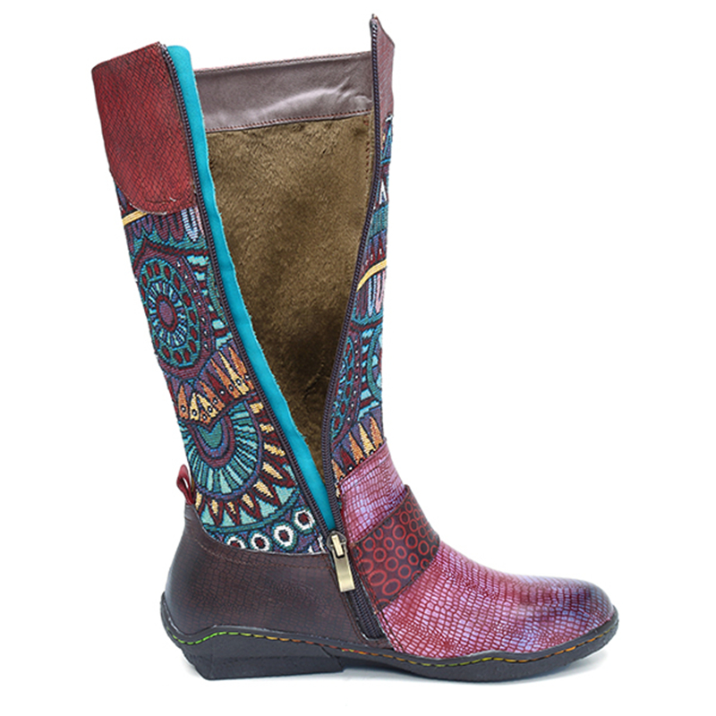 Socofy Retro Bohemian Mid-calf Boots Women Shoes Genuine Leather Buckle Decor Motorcycle Women Boots Snake Pattern Shoes Woman