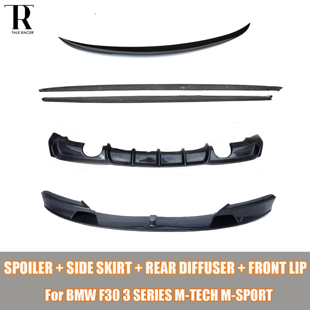 F30 Bodykit Carbon Fiber Side Gonna & Diffusore Posteriore e Posteriore Tronco Spoiler & labbro anteriore per BMW Serie 3 F30 M-tech M-sport 12-16