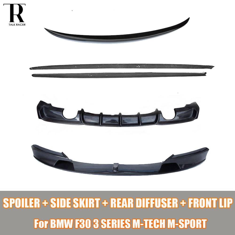 F30 Bodykit Fibre De Carbone Side Jupe & Diffuseur Arrière et Arrière Tronc Spoiler et avant lip pour BMW F30 3 Série M-tech M-sport 12-16