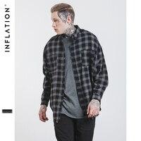 INFLATION Fear Of God Long Sleeve Brushed Tartan Casual Shirt Tyga Hiphop Streetwear Men S Plaid