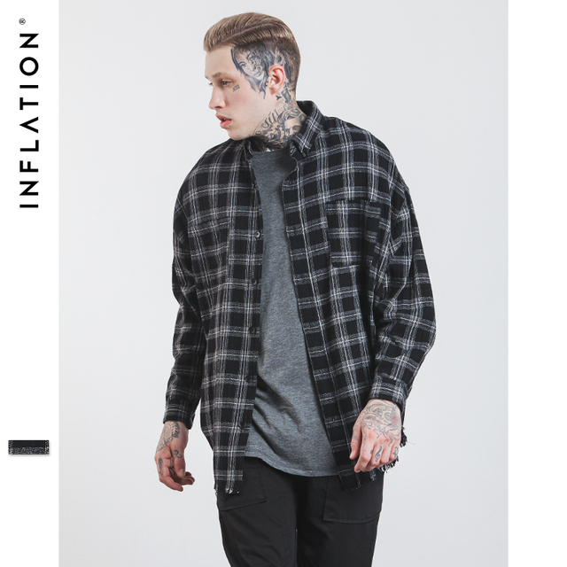 INFLATION 2017 Autumn & Winter Long Sleeve Casual Shirt Hiphop Streetwear Men's Plaid Check Flannel Shirt 004W17