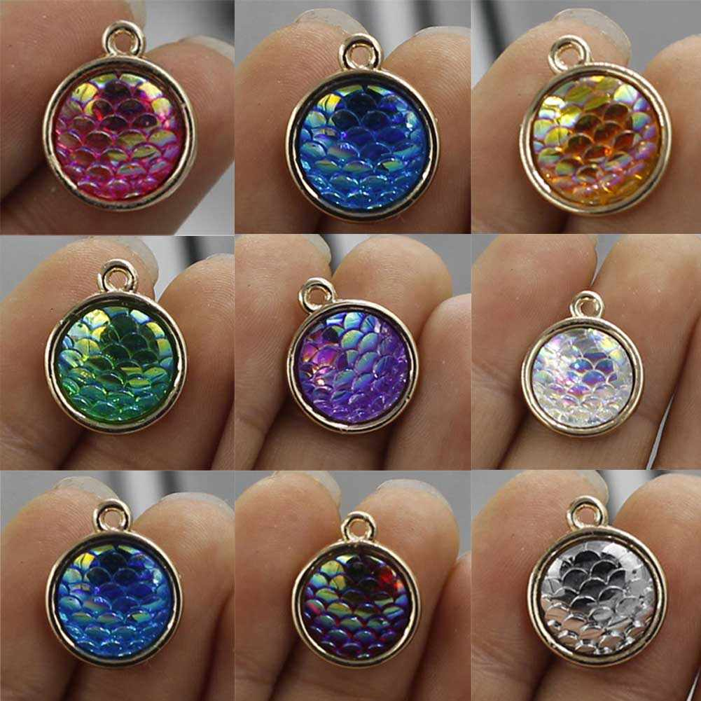 2018 New arrival Vintage Color Fish Scales pendant for making necklace bracelet jewelry Suspension foe women wholesale