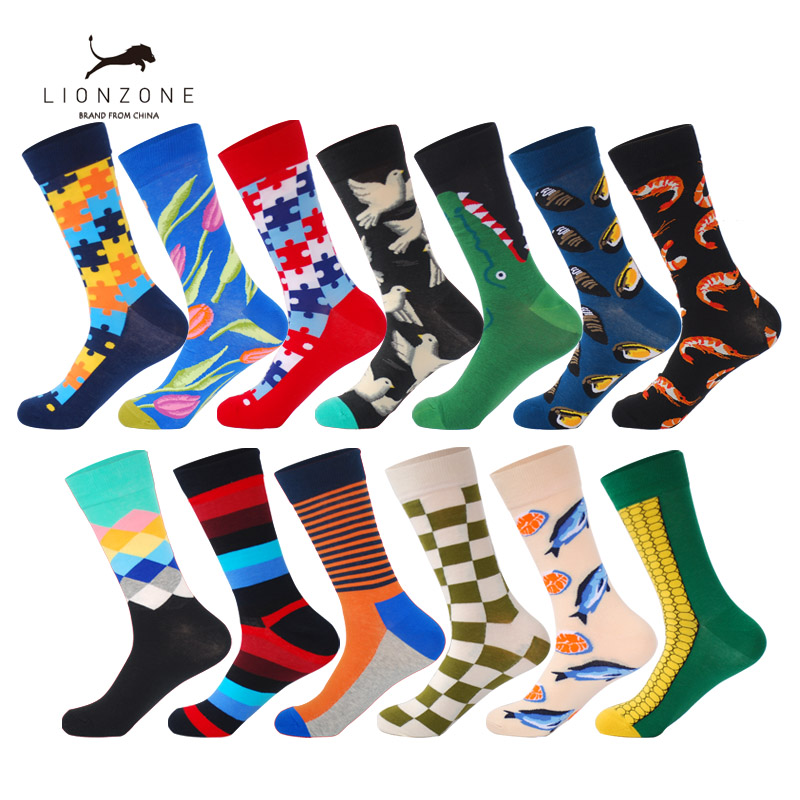 Mens Happy Socks 13 Colors Striped Plaid Diamond Cherry Animal Funny US9-13 Casual Combed Cotton Socks Hot Selling 2018