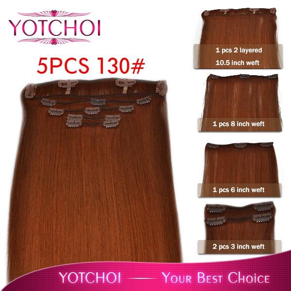 """Yotchoi clip en el pelo exentions 130# cobre luz roja color de 12 """" - 30 """" clip en el juego 5 unids 110 gramps recta extensiones de cabello humano"""