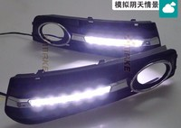 FREE SHIPPING,12v led car DRL daytime running lights with fog lamp hole for A4 A4L B8 2009 2010 2011 2012