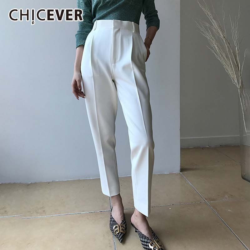 CHICEVER Casual High Waist Trousers For Women Zipper Patchwork Pockets Ankle Length Harem Pants Large Sizes