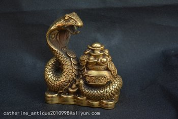 Collectable Old Qing Dynasty copper Snake king to make money statue,Handmade crafts,collection& adornment