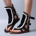 Corda moda Projeto Mulheres Escavar Sandálias Gladiador Preto Ocasional Flats Verão Volta Zip Mulheres Praia Flip Flops Zapatos Mujer