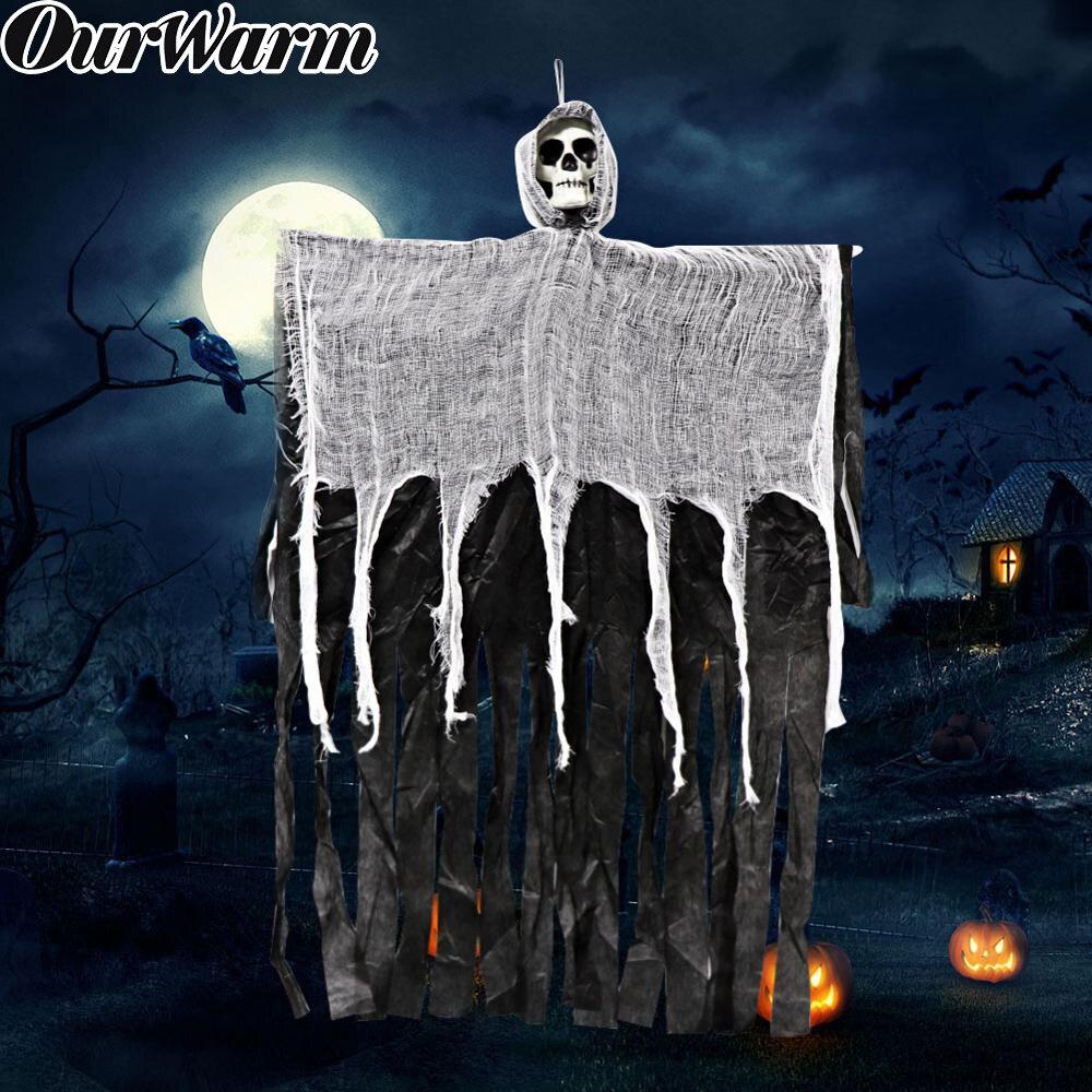 OurWarm 90*60cm Huanted Casa Decoração Horro Grim Reaper Halloween Pendurado Fantasma Porta Bar Decoração de Halloween Adereços Casa