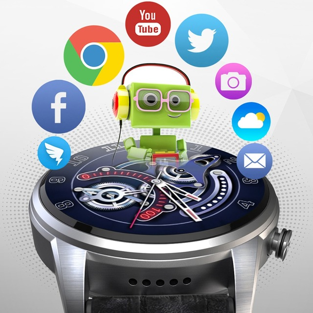 2019 Classic business style 4G smart watch android 7.1 with sim card camera gps bluetooth Multiple dials Stainless steel shell