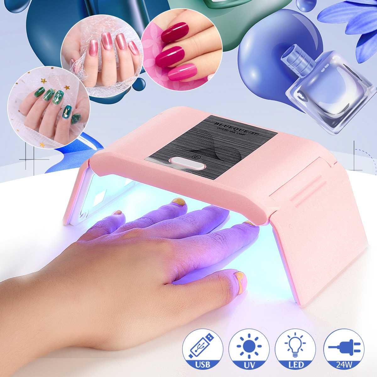 24W Mini LED UV Art Nail Polish USB Foldable Dryer Lamp 12 LEDs Gel Acrylic C Uring Ligh Drying Tool