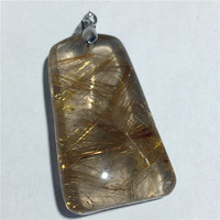 NATURAL Gold Rutilated quartz crystal pendant
