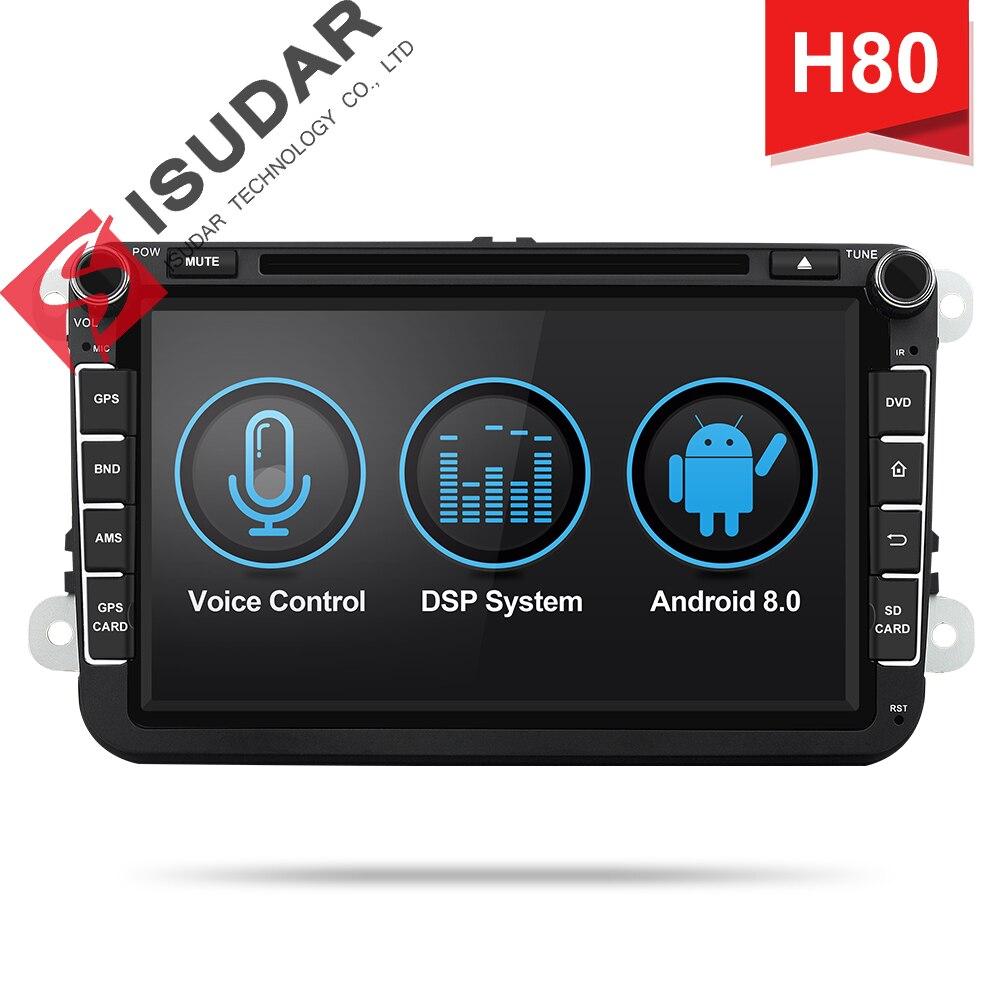 Isudar H80 Voiture lecteur multimédia Android 8.0 2 Din Autoradio Pour VW/Volkswagen/POLO/Golf/PASSAT/ b6/Skoda GPS contrôle vocal DSP