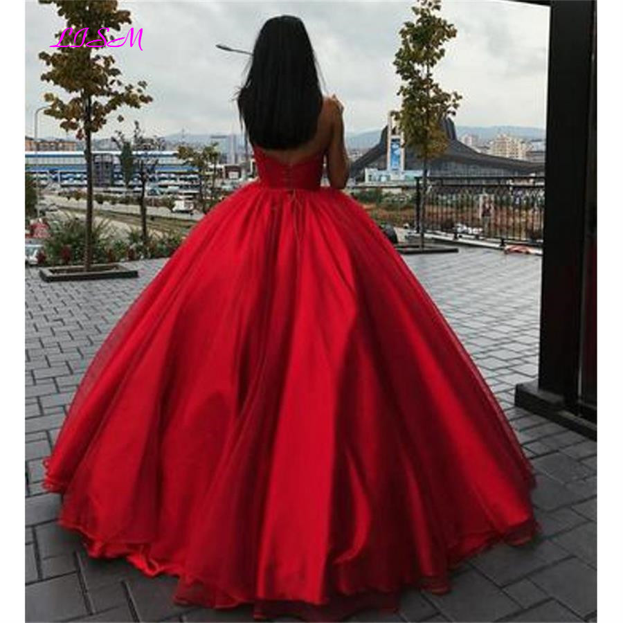 Red Ball Gown Prom Dress Robe De Soiree Elegant Long Evening Party Dresses Sweetheart Empire Tulle Formal Gowns Vestidos De Gala