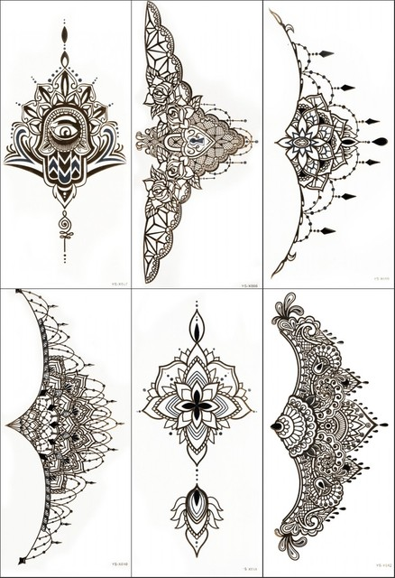 2pcs 3d gold flash tattoo metalic beast temporary tattoo sticker totem lace design tattoo chest sticker
