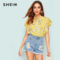 SHEIN Yellow or Blue Cute Tie Neck Butterfly Sleeve Floral Print Blouse Woman Summer Stand Collar Boho Casual Tops and Blouses