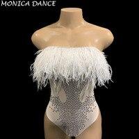Для женщин сексуальная сцена белое перо бюст боди со стразами женские для сценического выступления певца одежда день рождения, праздновани
