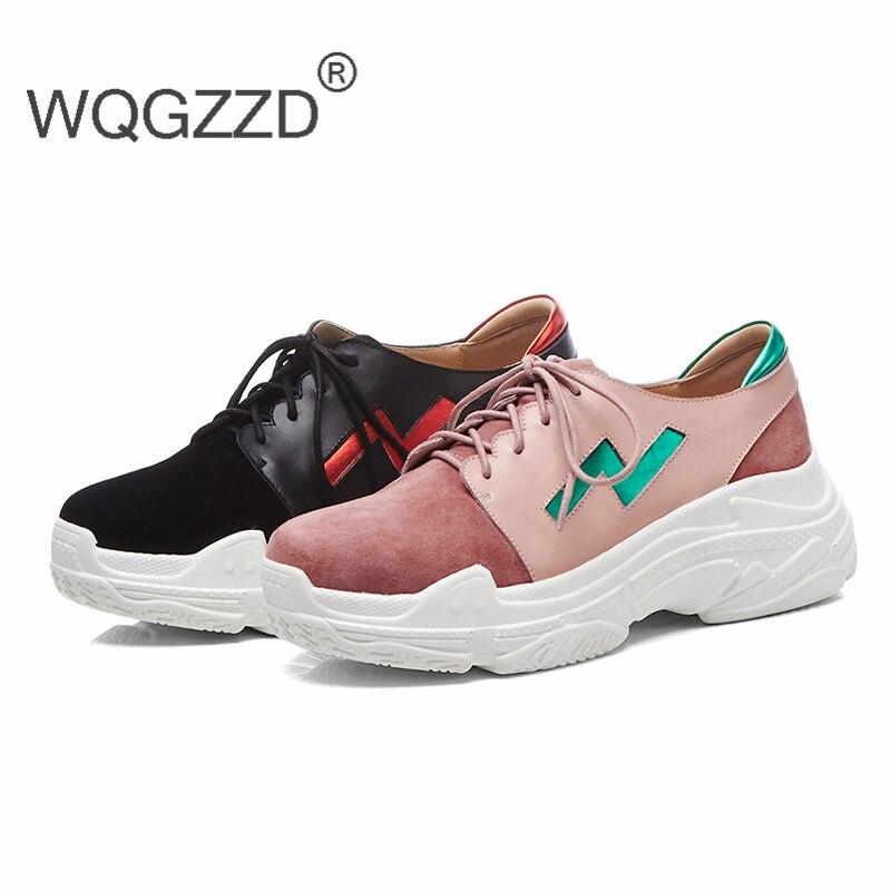 pink forme Nouveau Plate En De Mujer Confortable Femmes Automne Sneakers Zapatos Mode Black 2018 Véritable Chaussures Mocassins Cuir Plat Casual wHdqnqIt